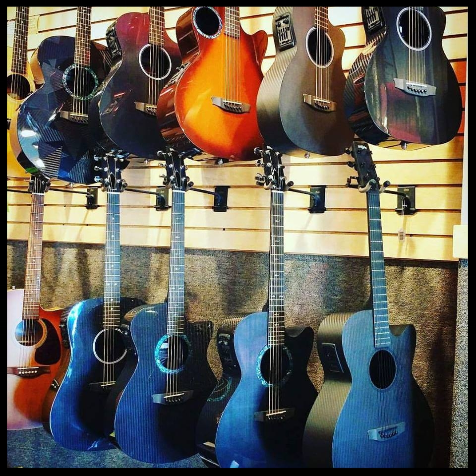 Acoutic guitars-  RainSong, Journey Instruments Seagull, Luna, Dean, La Patrie, Recording King, Loar, and Savannah.