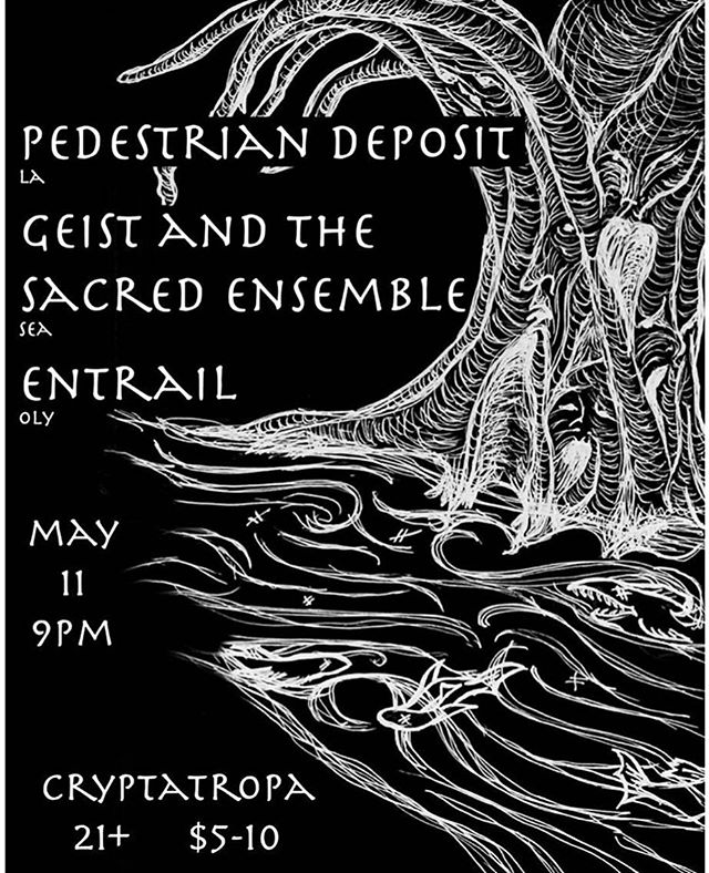 A special night of intensive drone explorations. Those subterranean passageways already exist in your heart and in your psyche. Let's crawl them together. @geistandthesacredensemble #pedestriandeposit @cryptatropabar @entrail
