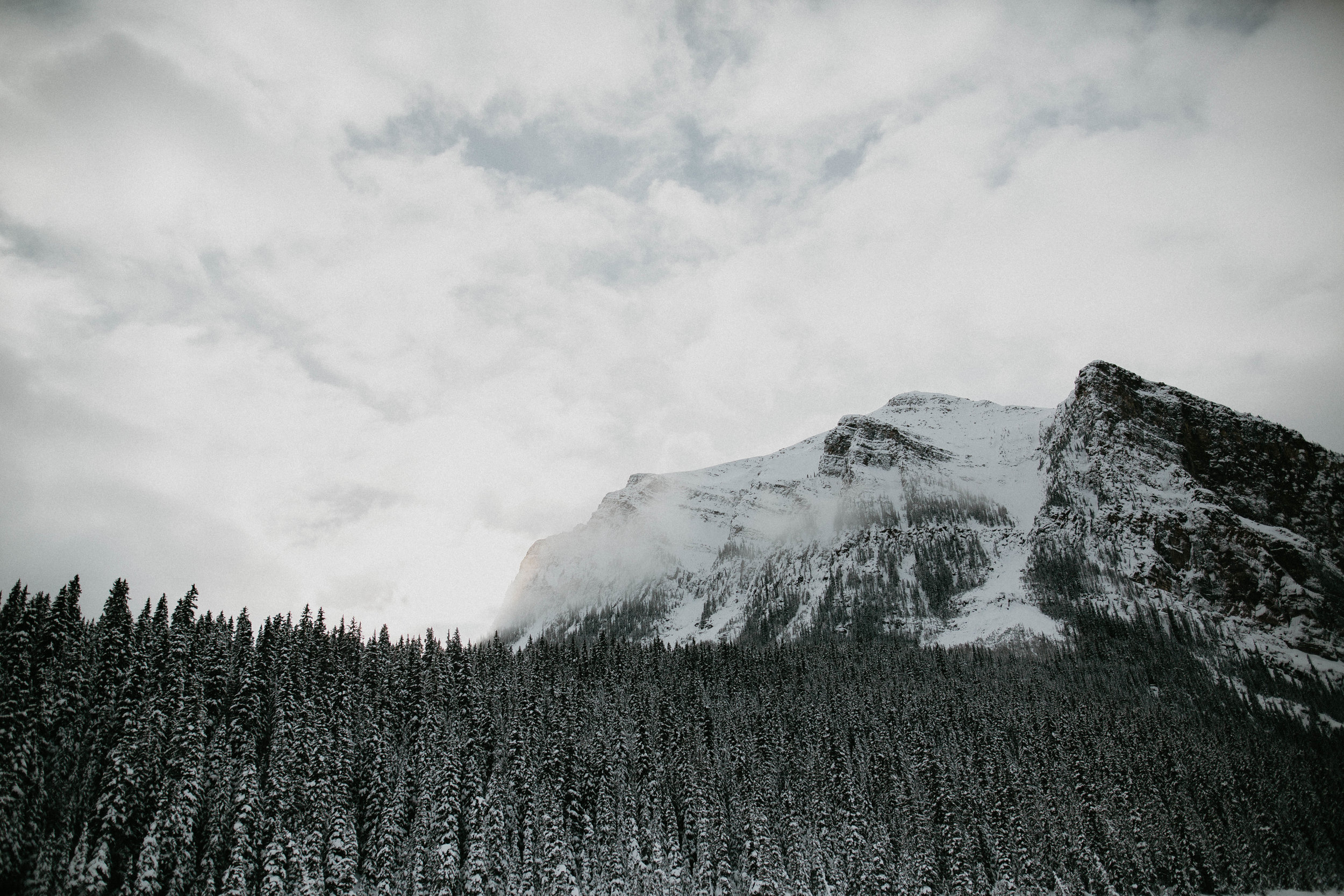 a view from standing on Lake Louise