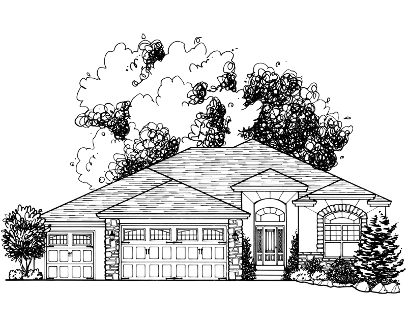 Contemporary Custom Home Drawing