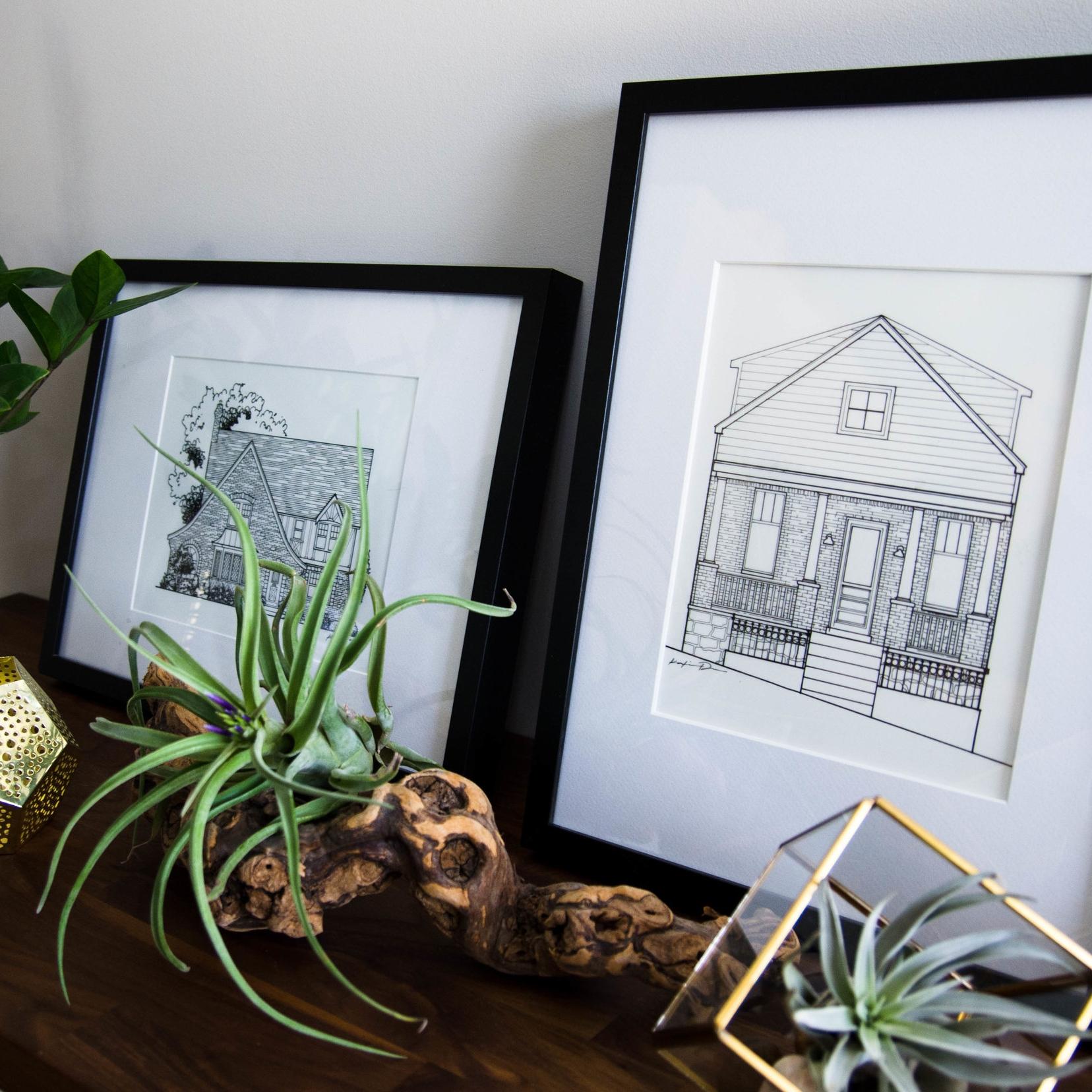Katie Danner Studio Rendering Home Drawing Artwork Kansas City Real Estate Illustration