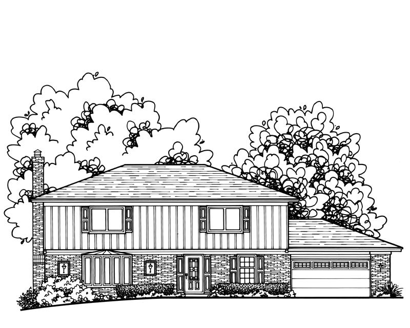 Custom Home Drawing by Katie Danner Studio