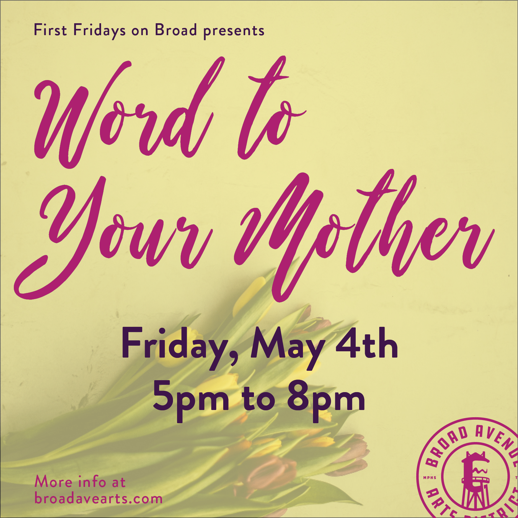 The shops of Broad Avenue will have gifts, goodies, and discounts to celebrate all the spectacular moms! Stop by 5:00 - 8:00 and feel the love! Participating shops:  Wiseacre Brewing Company   City & State   Falling Into Place   Merchants on Broad   T Clifton Art   Bingham & Broad   Mbabazi House of Style  more to come!