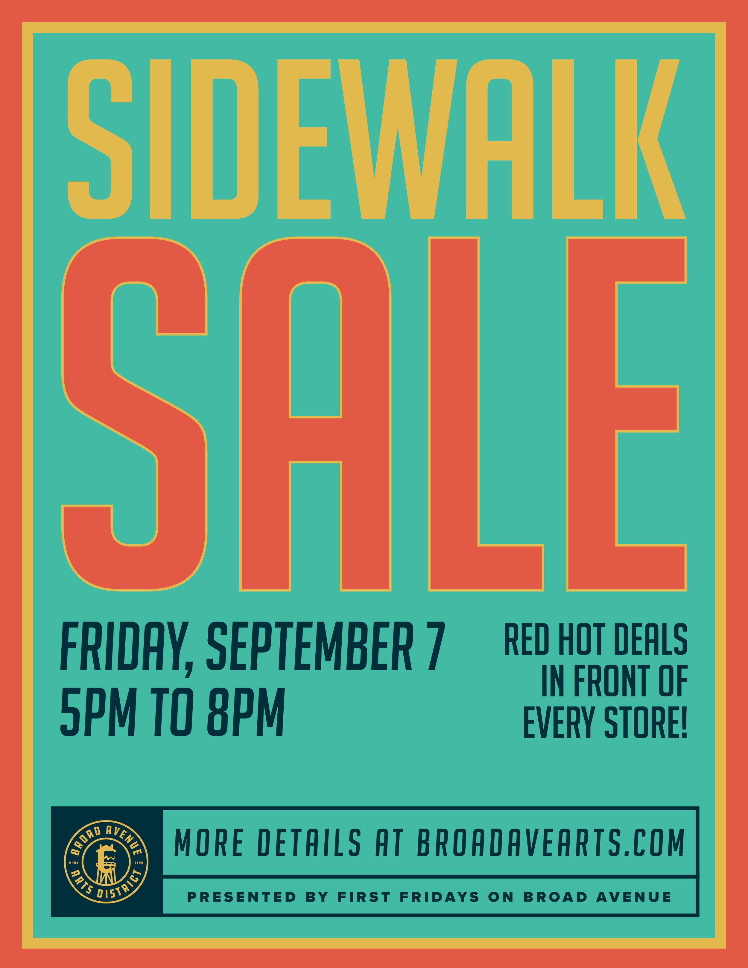 Broad Avenue's annual sidewalk sale!  More than just good deals.    Participating shops:  Bingham & Broad  20twelve  Falling Into Place  T Clifton Art  Pedaltown Bicycle Company  Core Collective Broad  A. Shaw Style  Merchants on Broad  Muddy's Bake Shop  Mbabazi House of Style Memphis  Wiseacre Brewing  Memphis Friends of the Library will have a great selection of $2 books and merchandise such as tees, bags, earrings, necklaces, book lights, pens. All proceeds benefit the Memphis Public Libraries.  Madewell (Saddle Creek) will be set up with their denim cart in front of Falling Into Place. Donate an old pair of jeans and you will receive $20 off of a future pair of Madewell jeans, a free tote, some popcorn, and water!