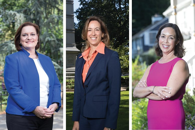 Former Navy pilot and federal prosecutor Mikie Sherrill [center], a Democrat, hopes to unseat Republican Congressman Rodney Frelinghuysen in Jersey's 11th District. Linda Weber, of Berkeley Heights [left] and Lisa Mandelblatt, of Westfield, are among the Democrats vying for a run against GOP incumbent Leonard Lance in the 7th District.  Photo by Christopher Lane