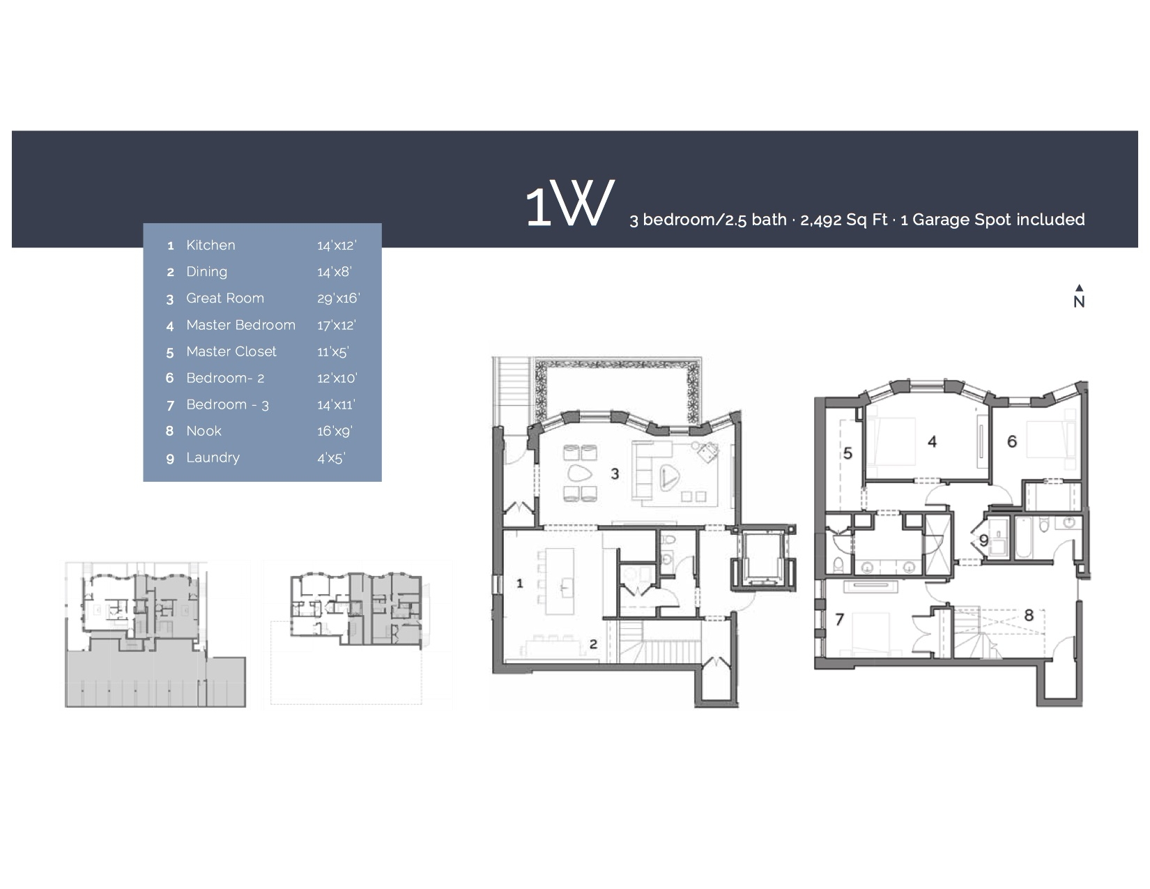 1W  — 3 Bedroom/2.5 Bath, 2492 sf.