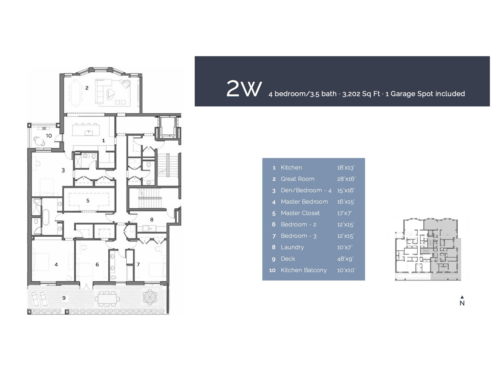 2W - 4 Bedroom/ 3.5 Bath 3202 sf.