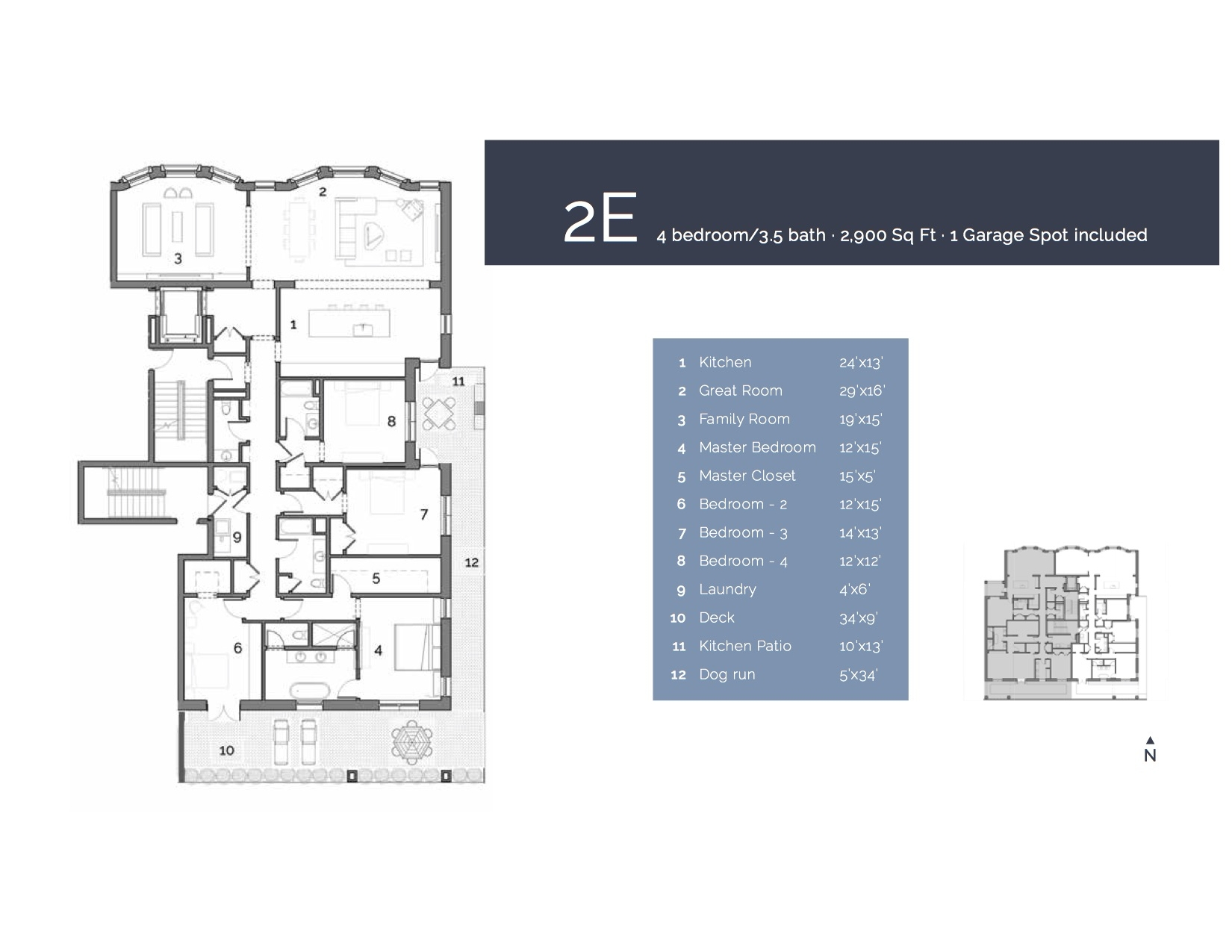 2E  — 4 Bedroom/3.5 Bath, 2900 sf.