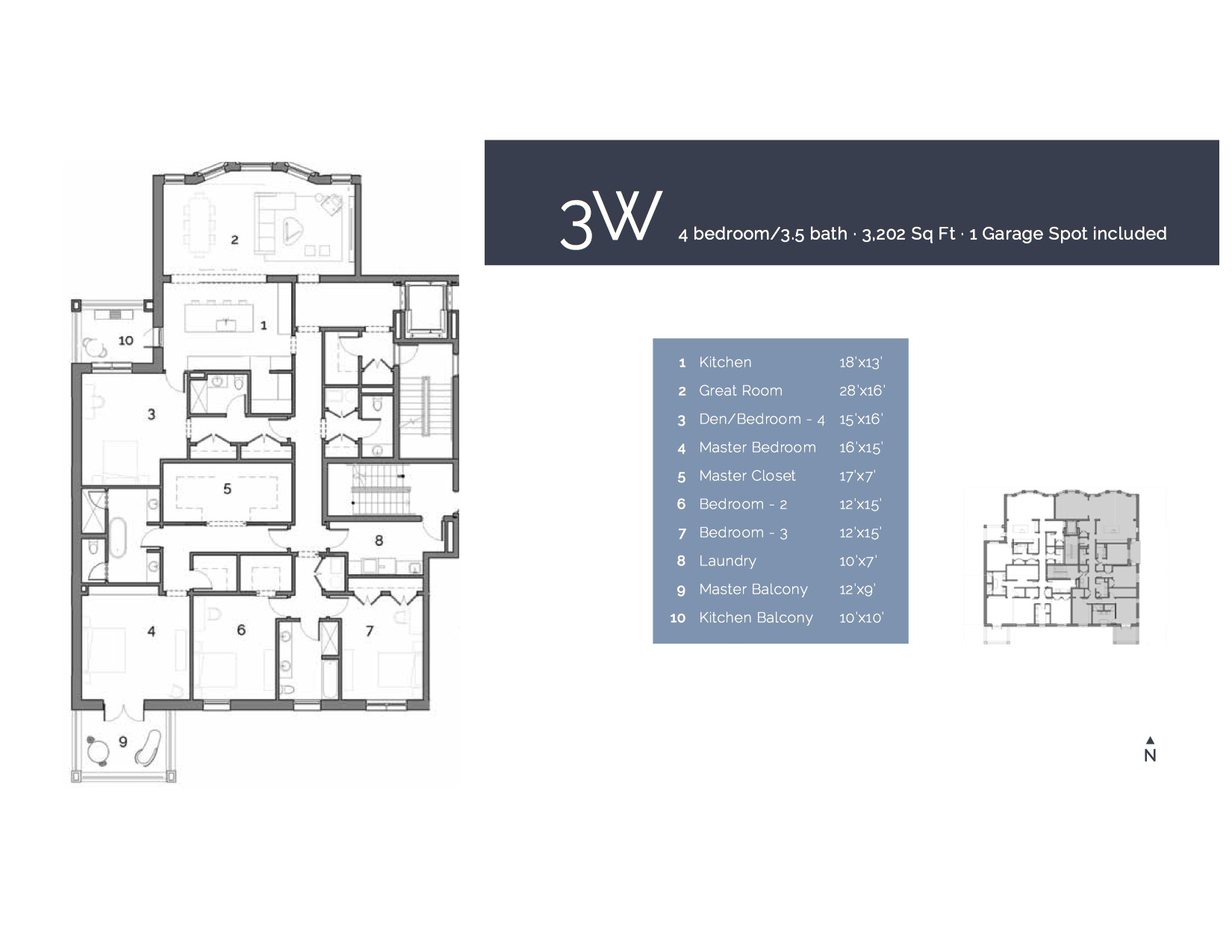 3W  — 4 Bedroom/3.5 Bath, 3202 sf.