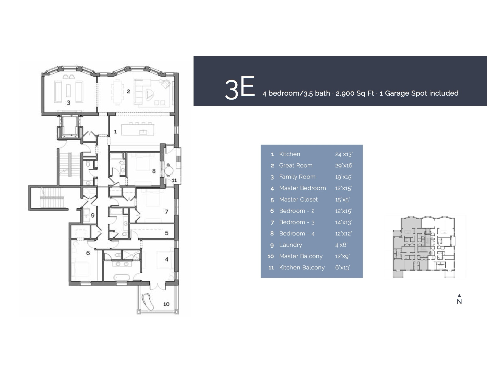 3E  — 4 Bedroom/3.5 Bath, 2900 sf.