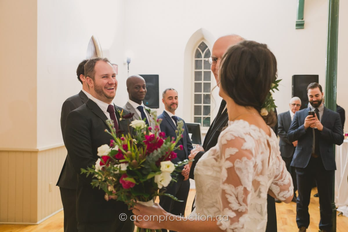 groom seeing bride at the wedding cermony