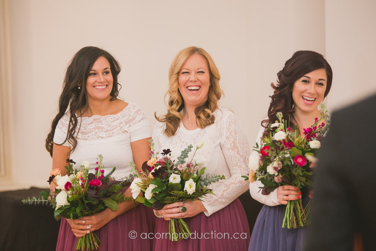 wedding party bridesmaid laughing