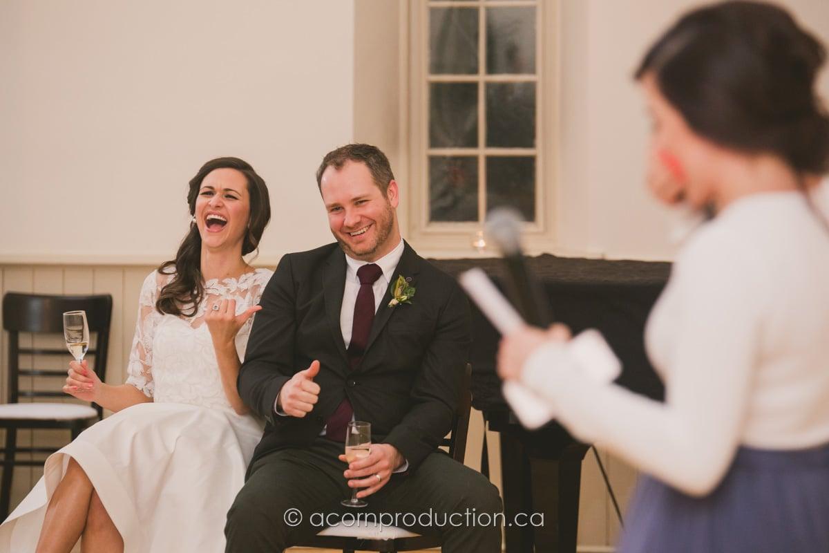 wedding couple react to speech
