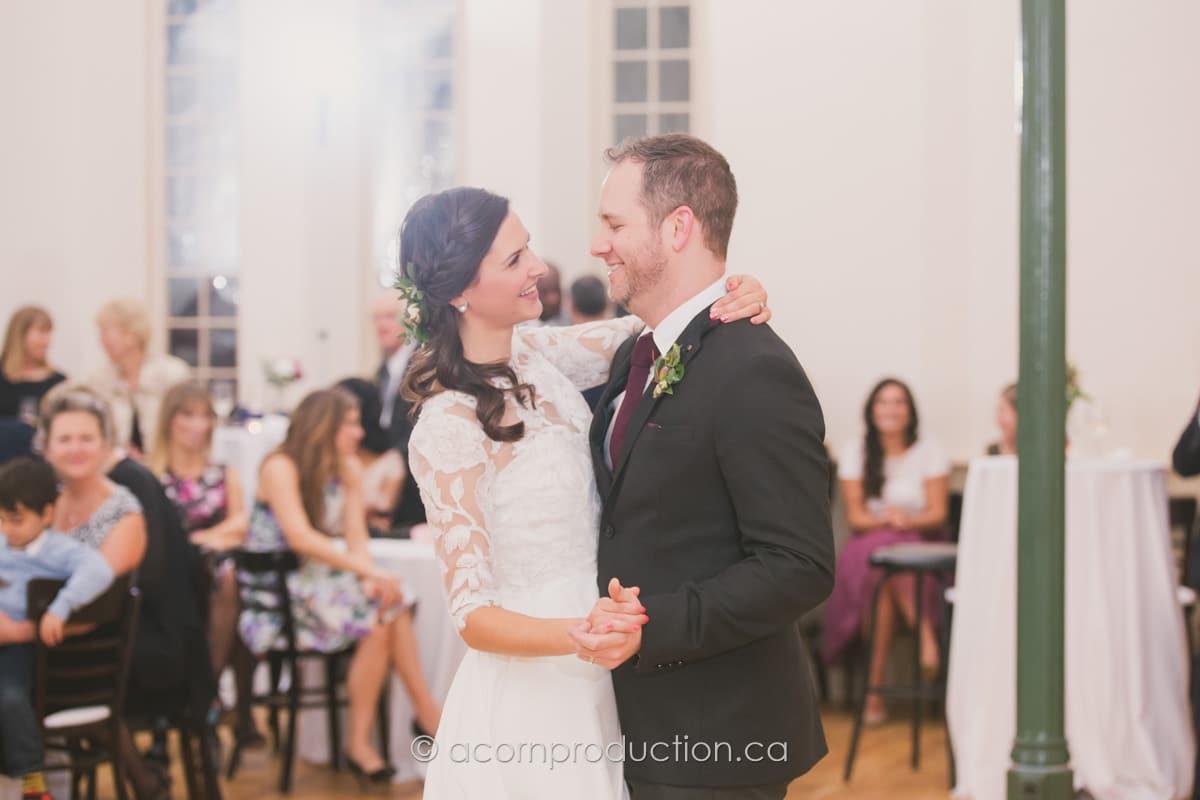 wedding couple first dance inside enoch turner schoolhouse
