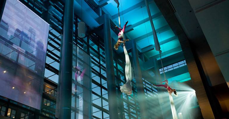 Aerial Silks Duet at the Philadelphia Convention Center for Grounded Aerial