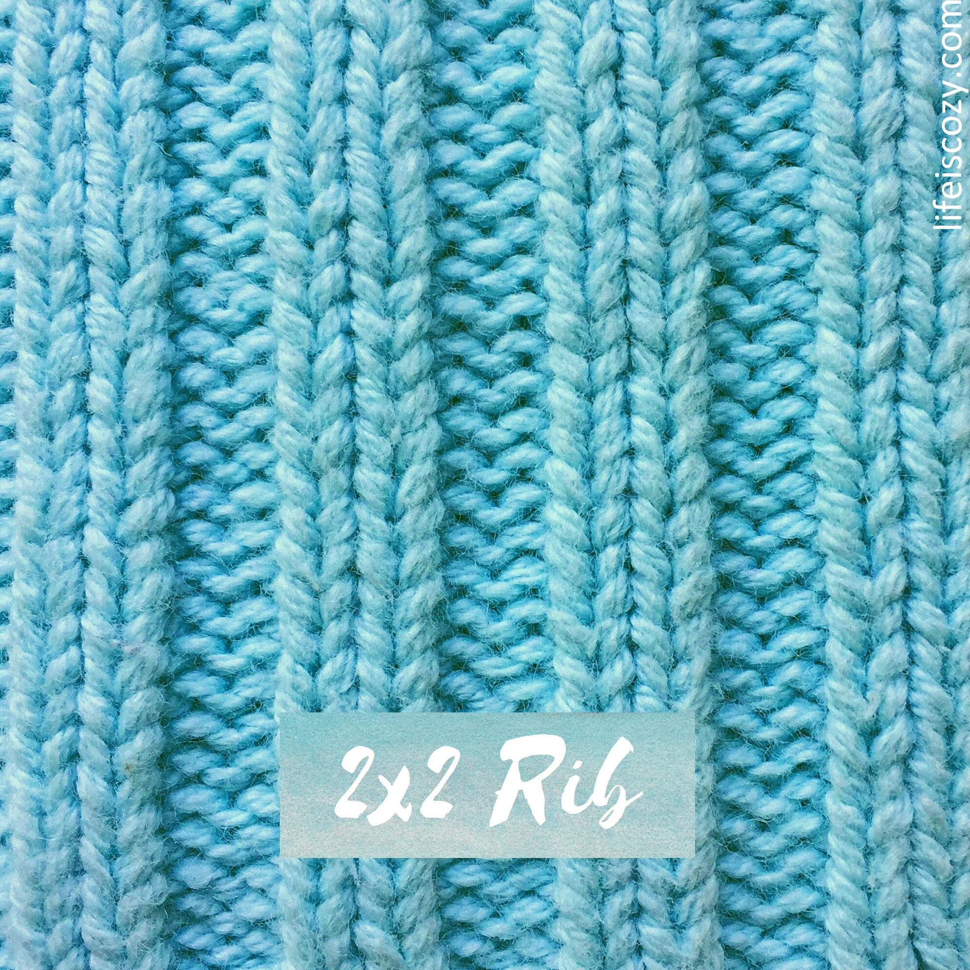 2x2 Rib Stitch Simple Ribbing How to knit