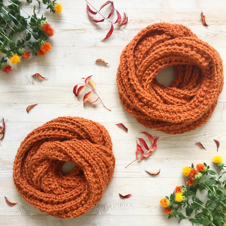 How to knit cozy Pumpkin Spice scarf
