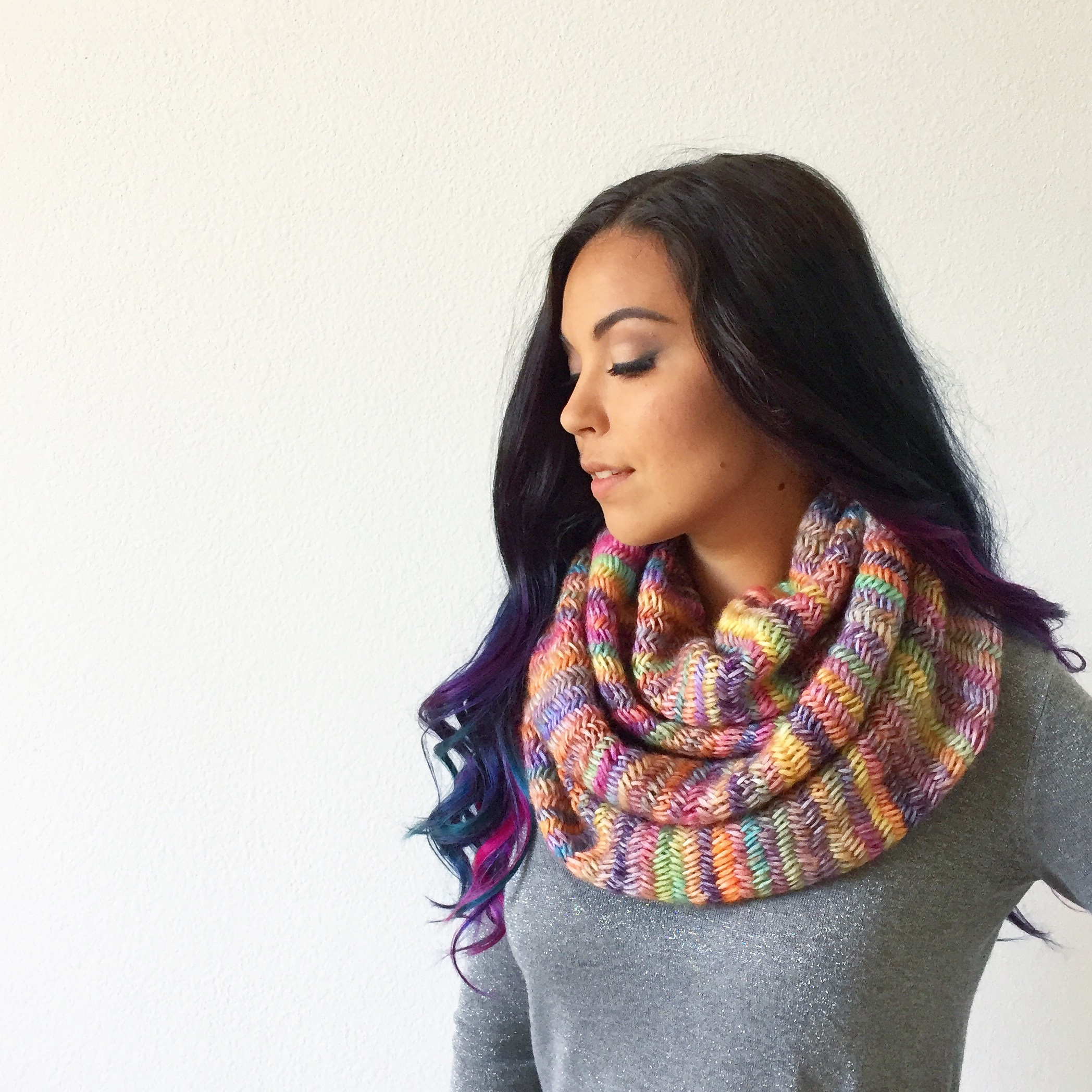 Misty Rainbow Scarf in 2 circles