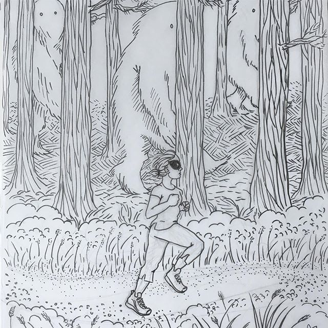 WIP: Thoughts while running, no. 1. Not sure yet how I want to finish this digitally. More to come! . . . #pdxillustrator #illustration #running #pnw #forestmonster #thegirlavenger