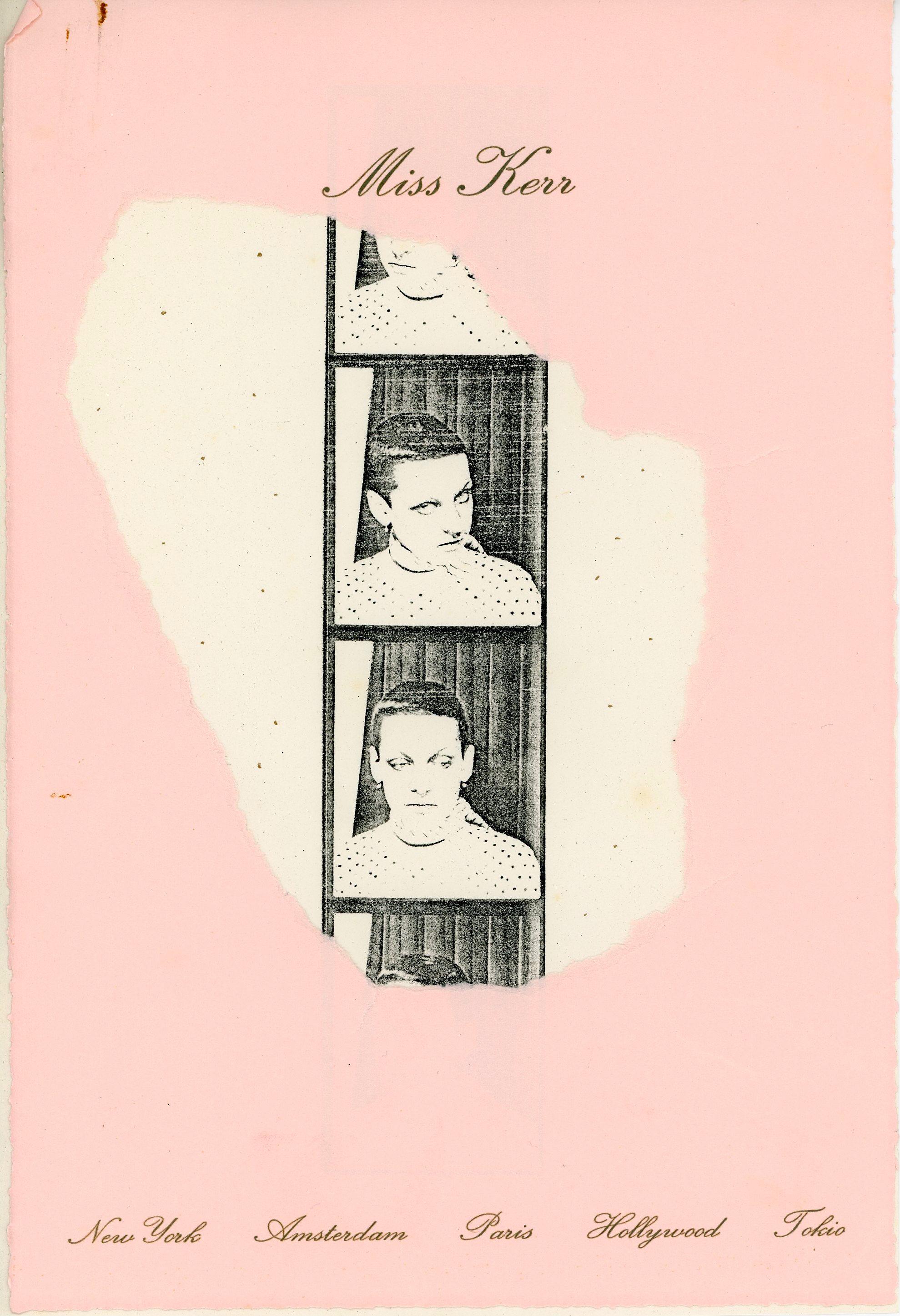 Miss Kerr stationary, 1977