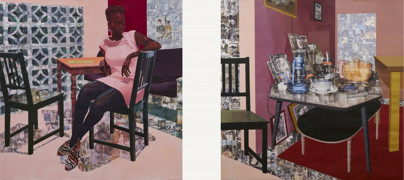 """""""Predecessors"""" 2013. Acrylic paint, graphite, charcoal and photo transfers on paper. Collection of The Tate, UK. Image courtesy of Njideka Akunyili Crosby."""