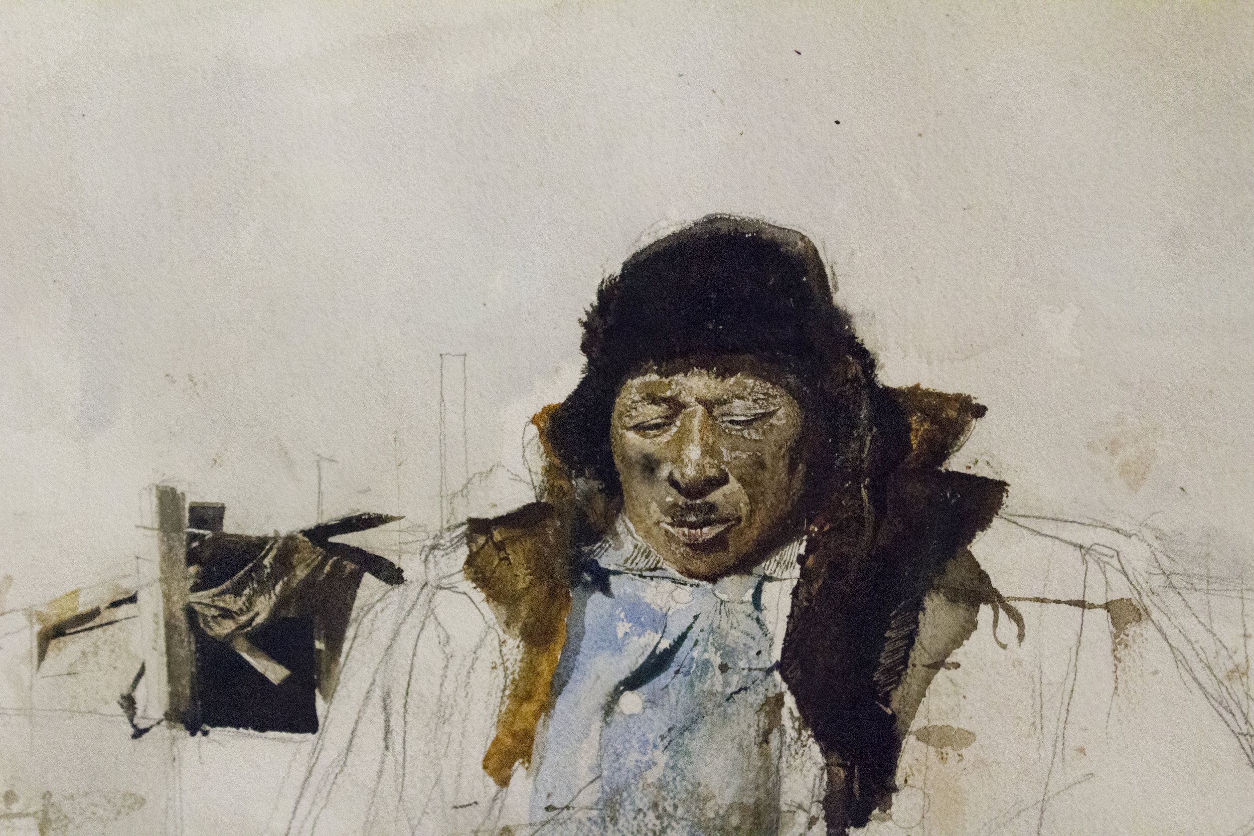 (Study for) Adam, 1963, Watercolor on paper. Andrew Wyeth. The Brandywine River Museum of Art. Image courtesy of author.