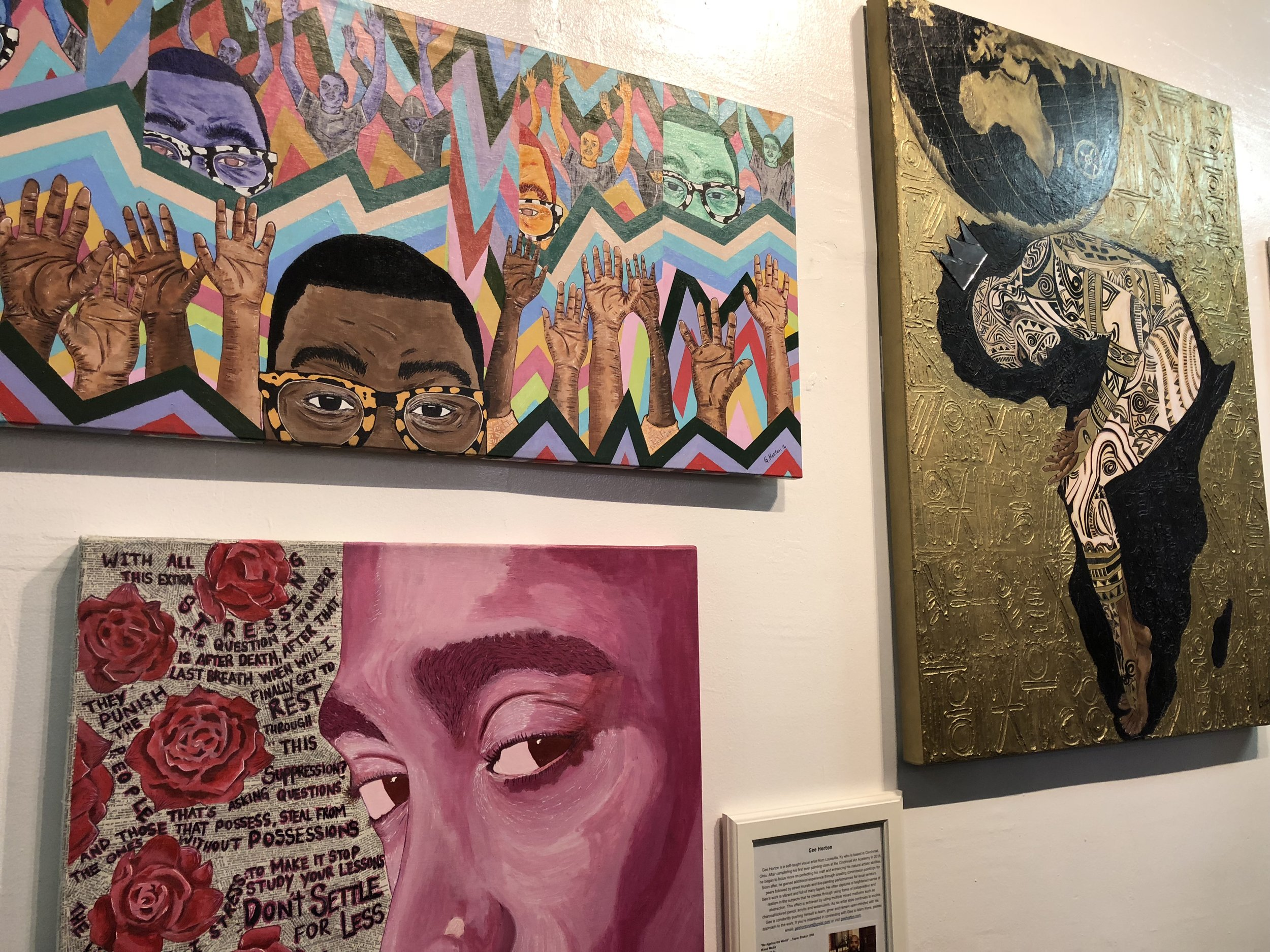 Paintings by Gee Horton at the West End Art Gallery, 2018. Image courtesy of Annabel Biernat.
