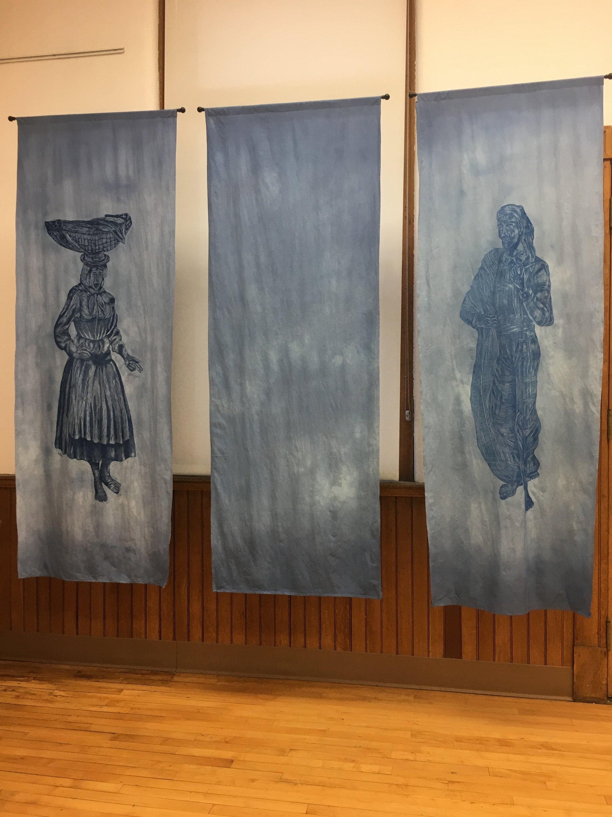 Varina,Peixinhos, and  Pescador, Gabriella Sapata.Woodcut on muslin and animation.Image courtesy of Lauren Darpel.