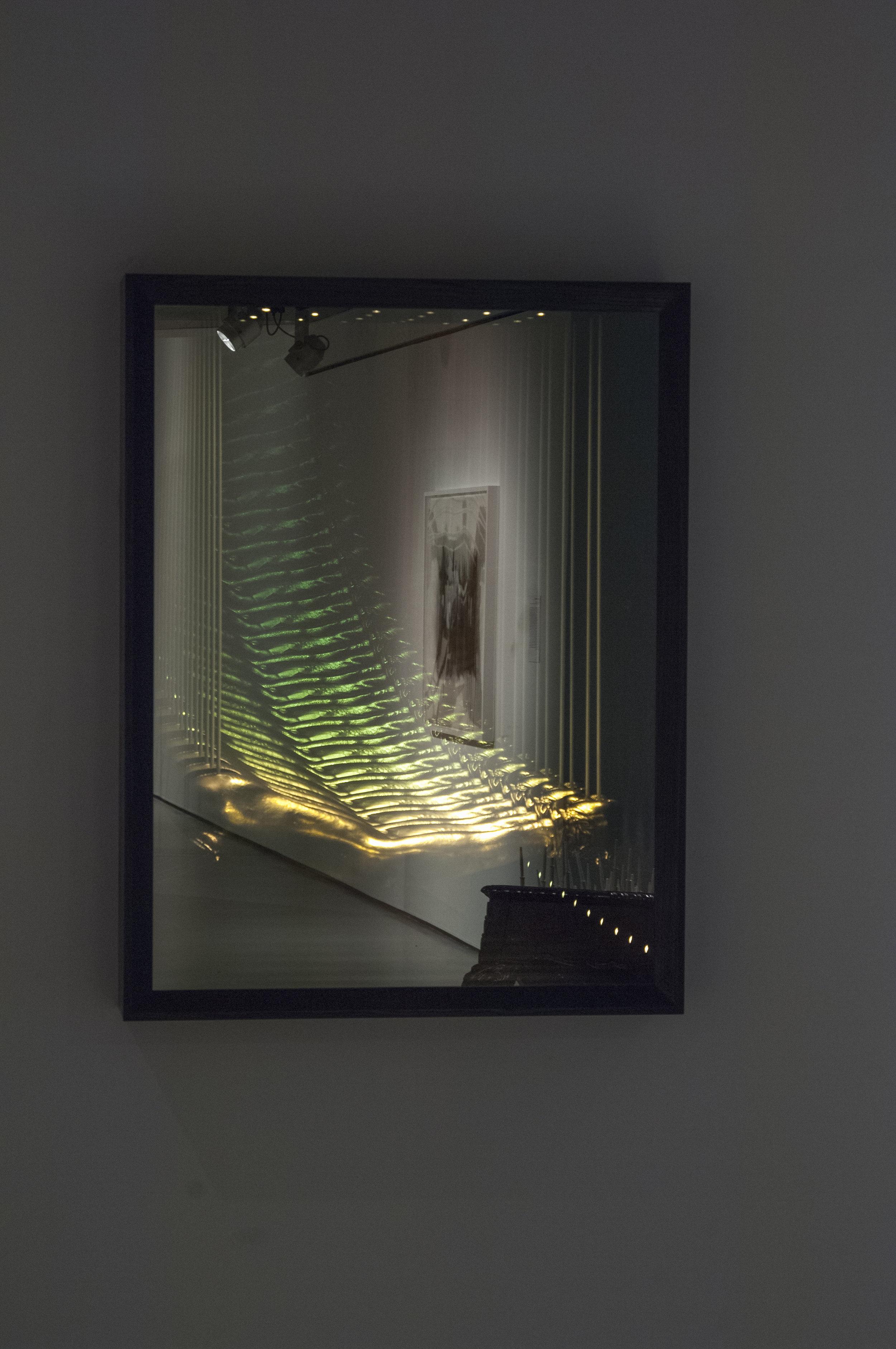Bridge, 2013,Fiberglass, steel, wire, gold paint.Image courtesy of Cincinnati Contemporary Arts Center.