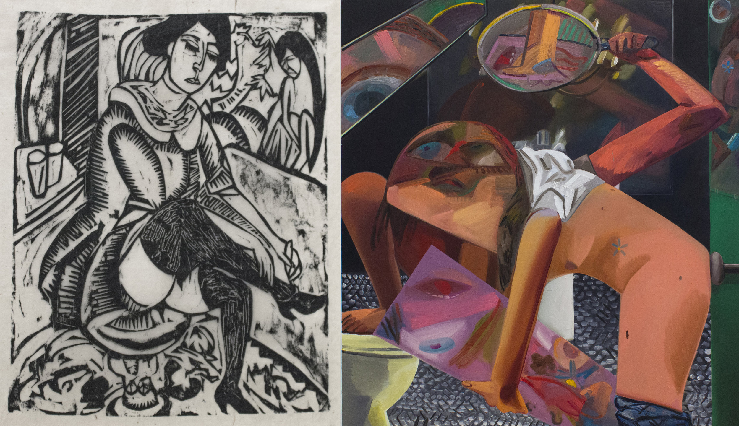 Ernst Ludwig Kirchner, Woman Buttoning Her Shoe, 1912, Woodcut AND Dana Schutz, Self-Exam, 2017, Oil on Canvas.jpg