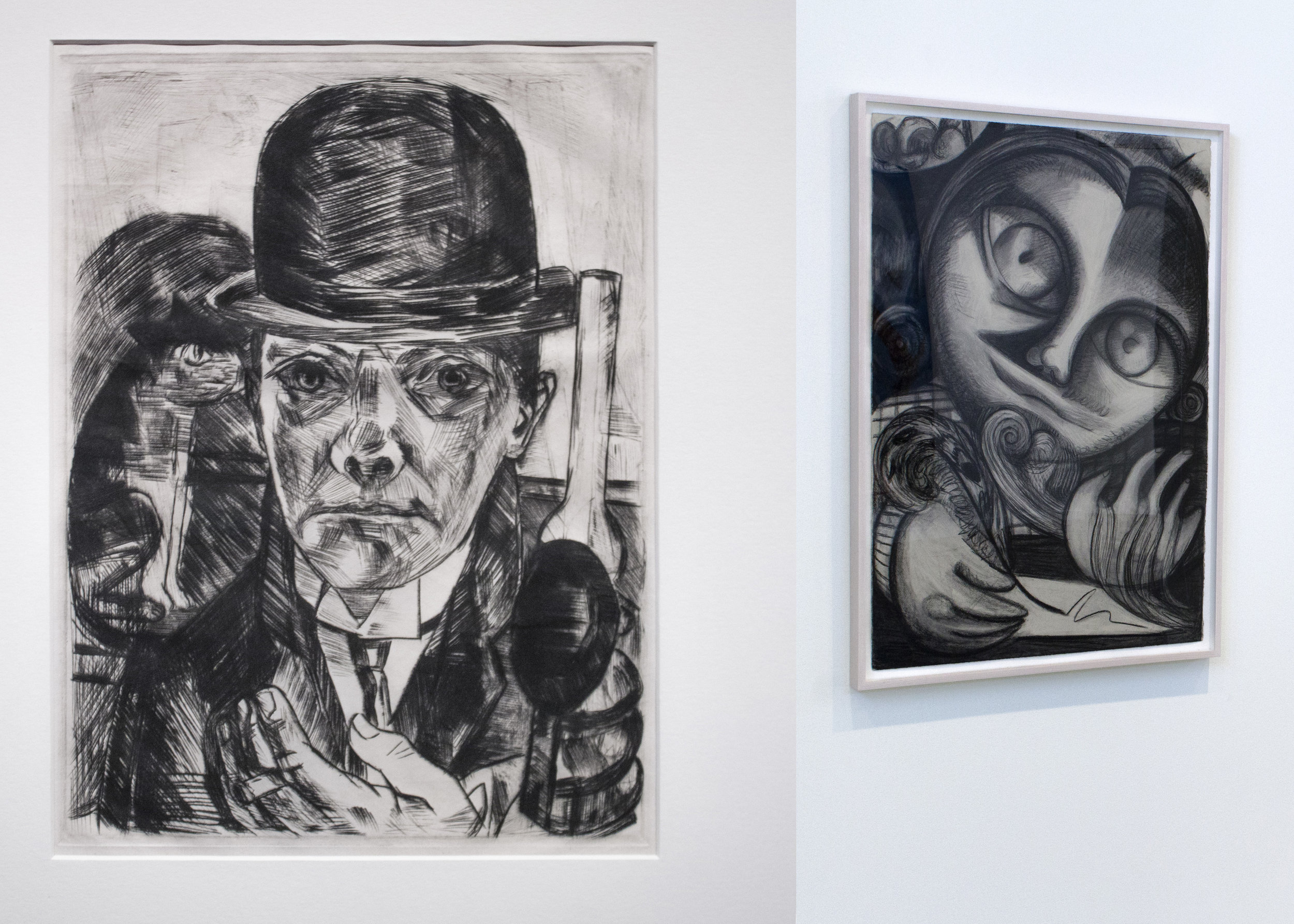 Max Beckmann, Self-Portrait in Bowler Hat, 1921, Drypoint AND Dana Schutz, The Philosopher, 2015, Charcoal on Paper.jpg