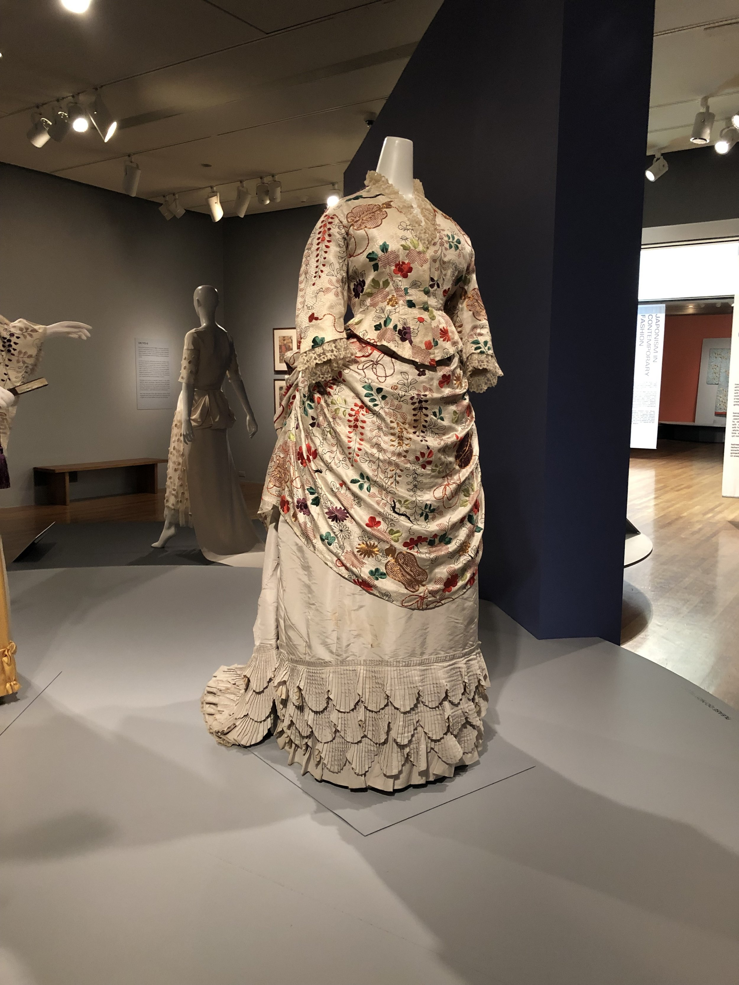 Misses Turner Court Dress Makers,  Dress: Bodice and Overskirt , 1876-8, silk, metallic thread.  Photo Courtesy of Emilie King