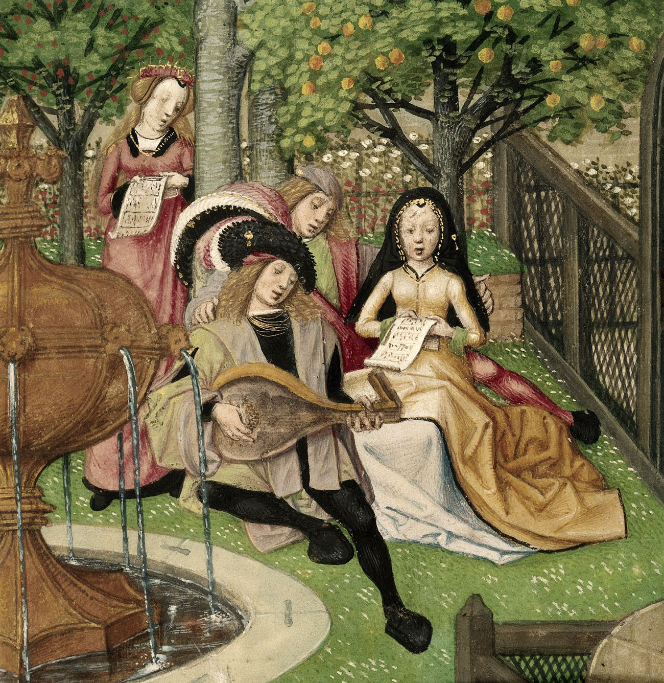 A lutenist and singers in the Garden of Pleasure_ Romance of the Rose (by Guillaume de Lorris and Jean de Meung.jpg
