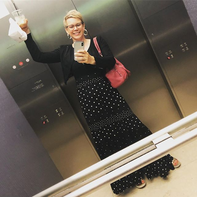 No idea why this first photo is at such a farkakte angle, but I'm guessing part of the issue was trying to snap a #hearstelevatorselfie before anyone else got in. 😳(@eholmes informs me that Hearst elevator selfies are a thing.) Let me toss back this iced coffee and I will be ready to dive into a day of back-to-back financial therapy sessions as part of my #partner @prudential's Financial Wellness Lab. Visitors to the Lab get this super adorable money tree as a take-home gift. 😍#lovemyjob