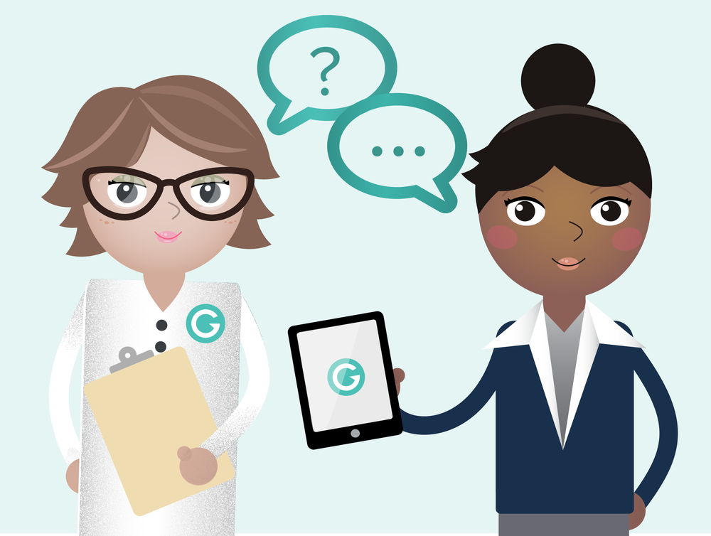 I thought it would be fun for our next email survey to make an illustration of our UX Researcher Loretta (on the left) and a Granicus user.(on the right)