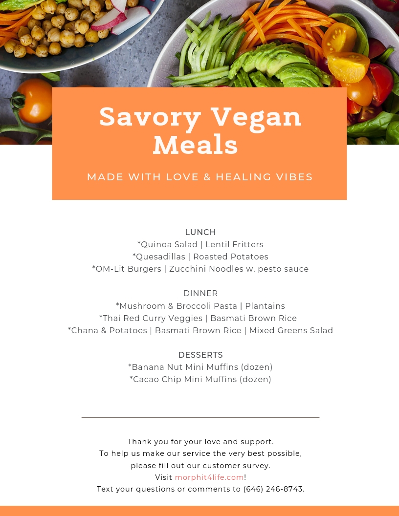 The MVP Menu - fill out the menu selection form to choose your meals for the next two weeks.