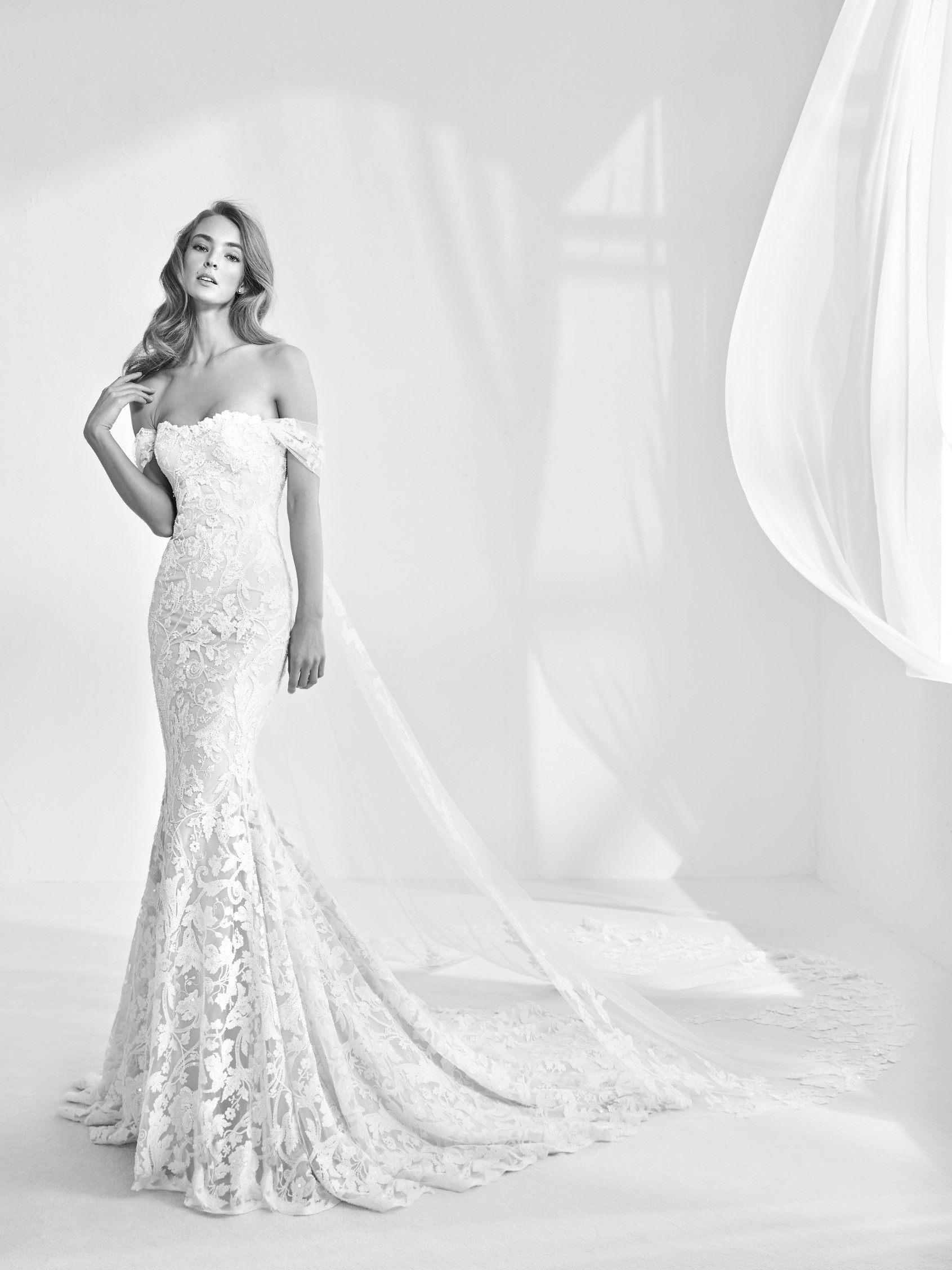 Pronovias Off the shoulder wedding dress
