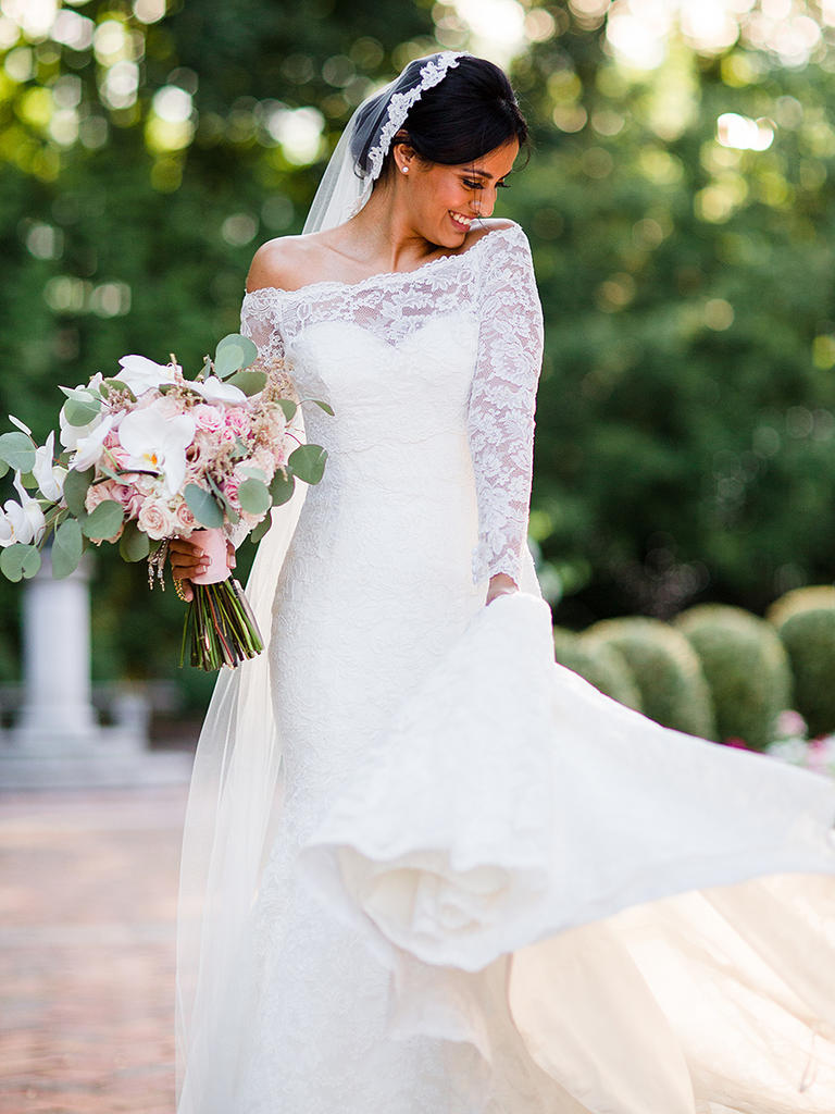 romantic and traditional off the shoulder wedding dress