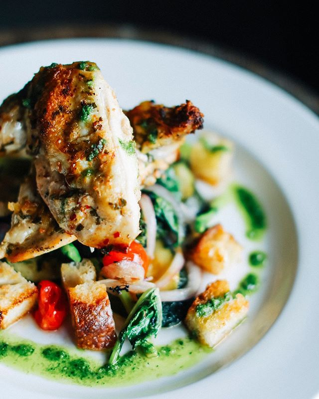 This is no basic chicken. Our Pollo al Mattone is now available at both La Jolla and Little Italy! 12oz double chicken breast with crispy focaccia panzanella, lemon, rosemary, crushed red chili and wood fired vegetables. - - - #chicken #healthyish #foodstagram #foodlover #isolapizza #diningoutsd #authenticitalian #italiancuisine #lajolla #littleitalysd #sandiegoeats #yelpsd #youstayhungrysd #italian #pizza #coastcreative