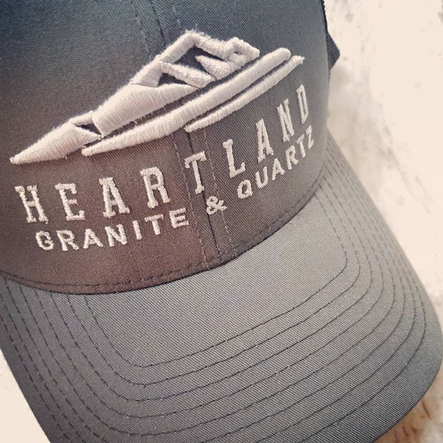 What's on YOUR counter? We got swag on ours. . . . #swag #ballcap #hat #cap #embroidery #embroidered #embroideredhats #baseballhat #baseballcap #whatsonyourcounter #whatsonyourcountertop #counters #countertops #granitecountertops #granitecounters #granite #heartlandgranite #hgq #topeka #topcity #forbesfield