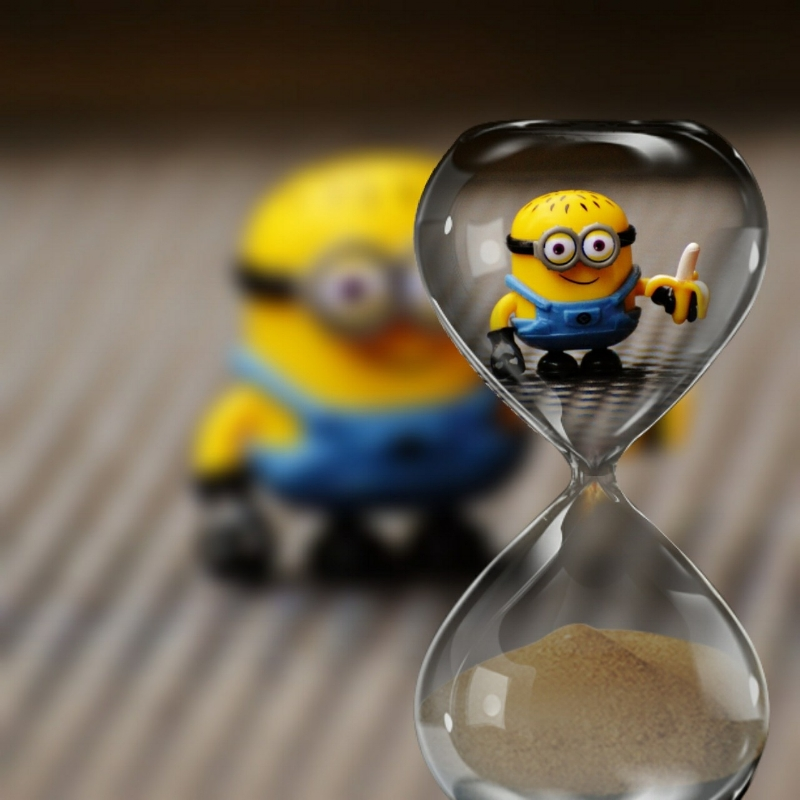 There's some kind of symbolism here for getting caught watching time run out. Or it could just be a cute picture of a Minion holding a banana. We may never know.