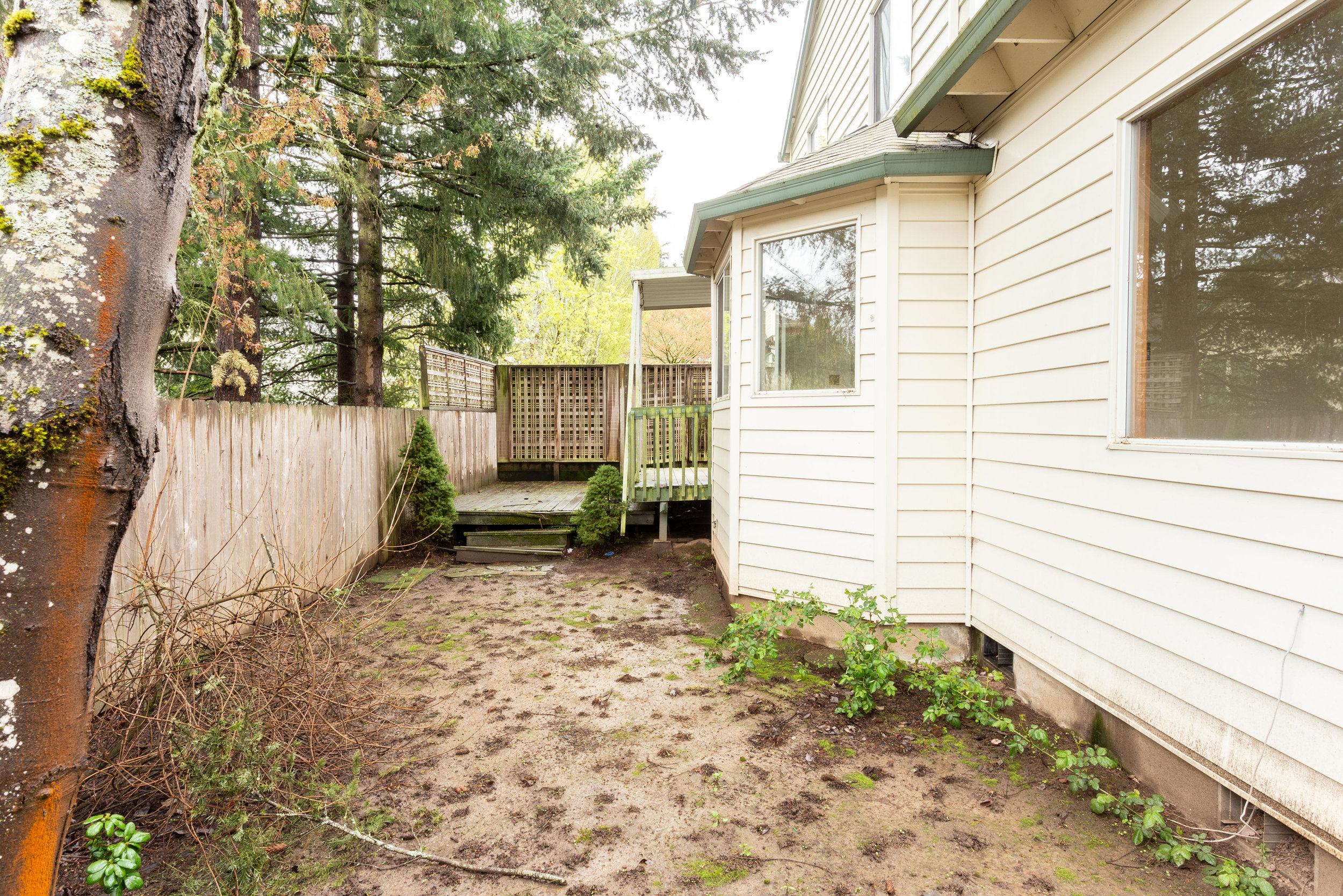 The side and backyard is just big enough to be useful but not too big to take care of. What will you put here?