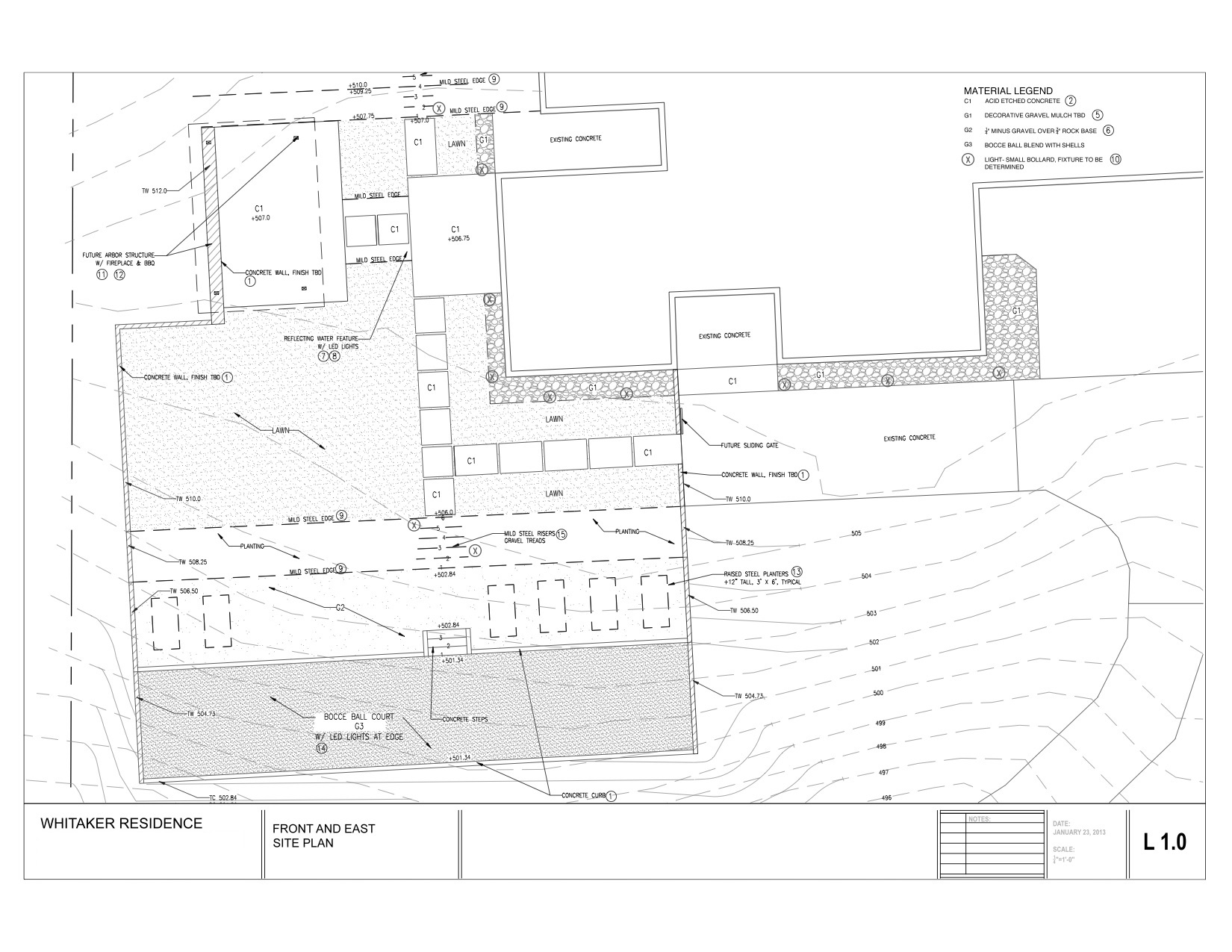 My original design plan, drawn up several years ago. No, we weren't REALLY going to put in a bocce ball court (and I have no idea how that ever would have worked with our slope)… but the idea was fun!