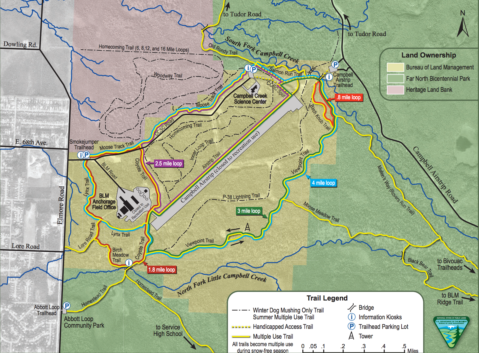 Burue of Land Management and Campbell Creek Science Center Trail system. Source: http://www.trailsofanchorage.com/Maps/CTTrailMap.pdf