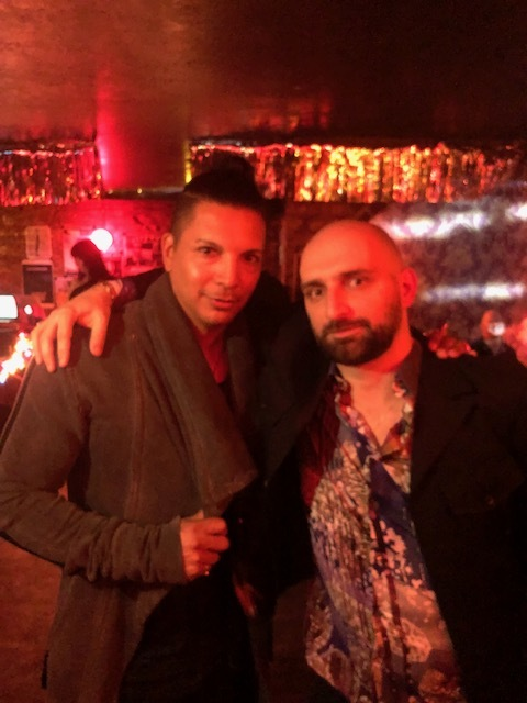 "Host Steve Rodriguez of TAGS PODCAST and DJ Lorant at Lorant's ""The Red Dark"" Video Premiere at Nowhere Bar in NYC"