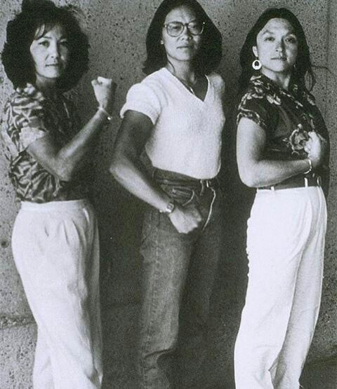 Nellie Wong, Kitty Tsu, & Merle Woo in 1981--high waists, belts optional. @h_e_r_s_t_o_r_y