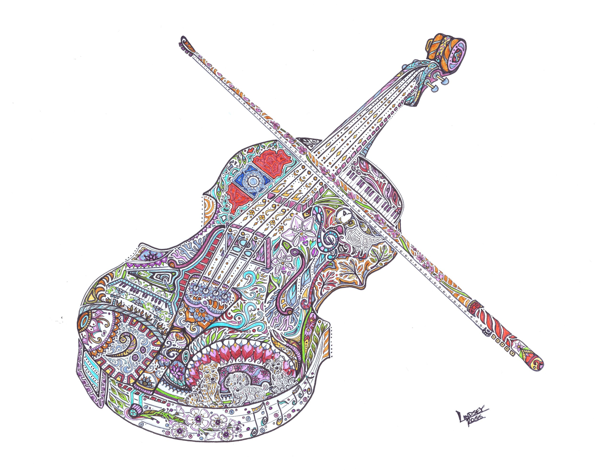Judy's Violin - This was certainly one of my favorite pieces to complete. I met Judy and Mike at Michael's Flavor Shack in Souris as they purchased his rooster print. Mike later reached out to me to ask about a custom violin for his wife's Christmas gift.This piece include's many of Judy's favorite things. The piano, their 3 dogs, a treble clef, musical notes, Taiwan, a puffin, a bass clef, lavender, orchids, maple leaves, and even Tawainese plum blossoms.