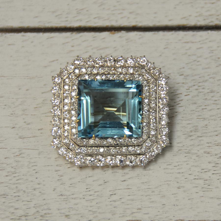Aquarmarine and Diamond Convertible Brooch/Pendant