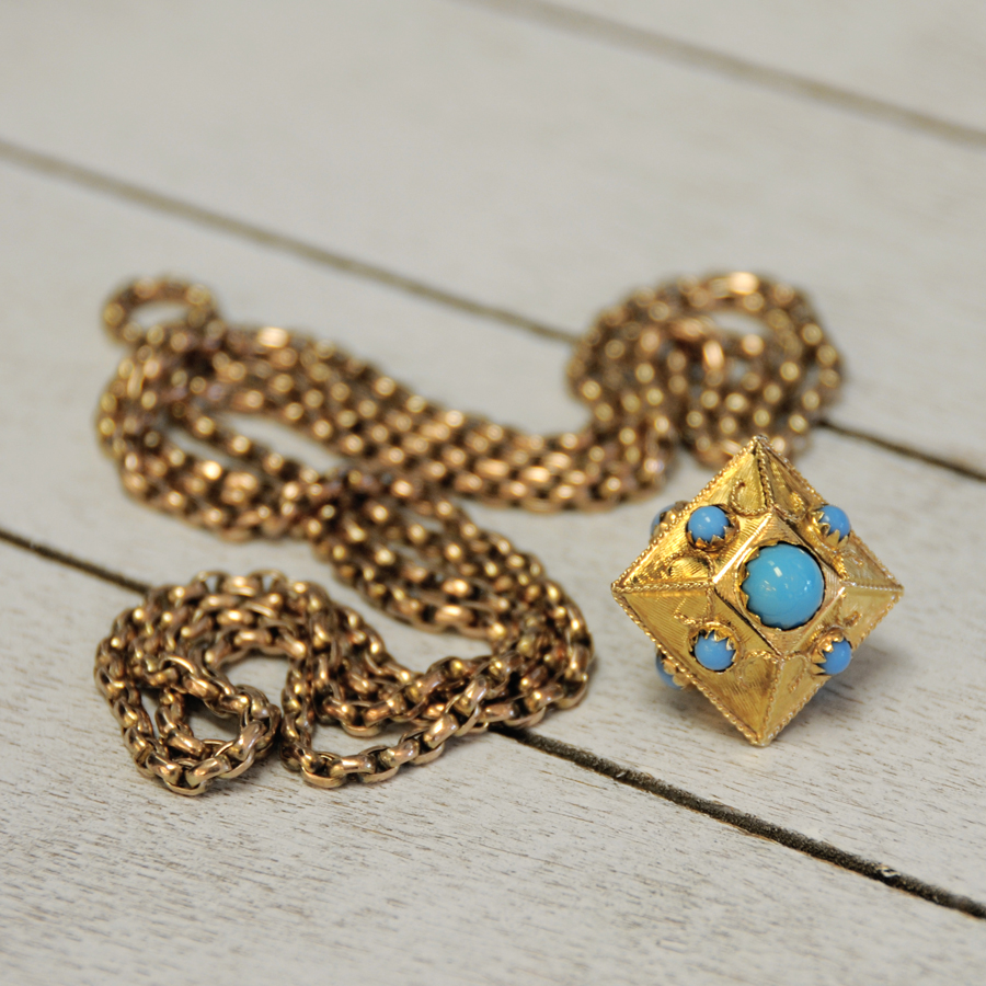Estate Gold and Turquoise Watch FOB