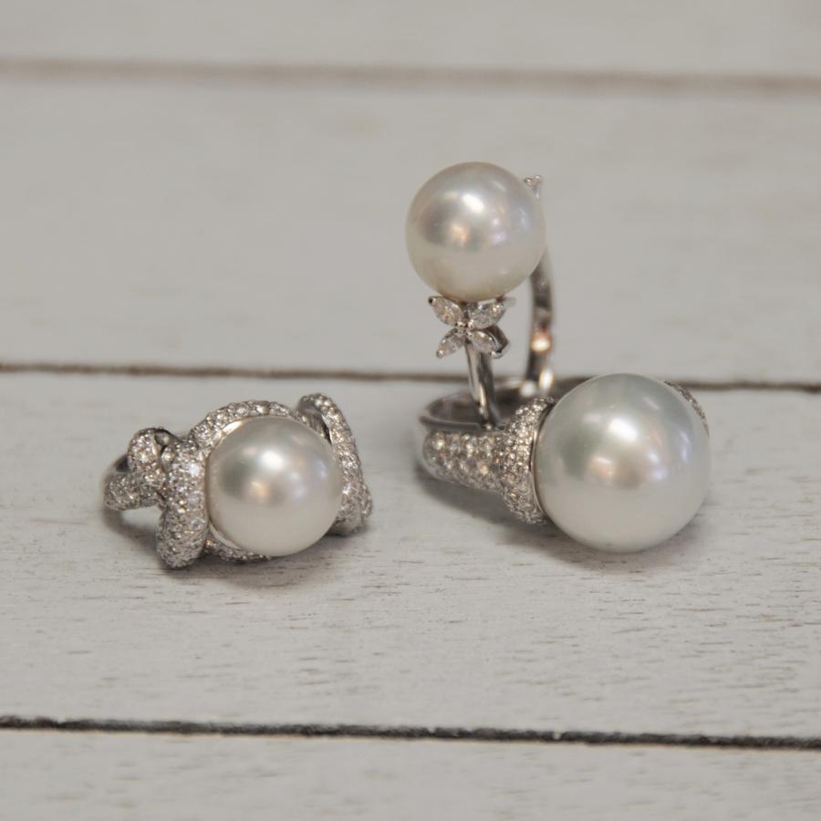 Platinum and Diamond Pearl Rings Estate